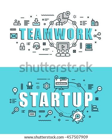 Set of modern vector illustration concepts of words teamwork and start up. Thin line flat design banners for website, mobile website and presentation.