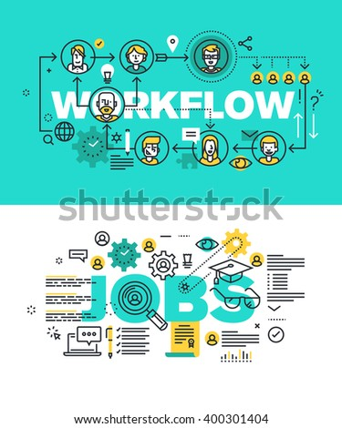 Set of modern vector illustration concepts of words workflow and jobs. Thin line flat design banners for website and mobile website, easy to use and highly customizable.