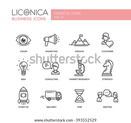 Set of modern vector office plain thin line flat design icons and pictograms. Collection of business infographics objects.  Marketing, customer, consulting, market, research, strategy, time, delivery