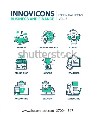 Set of modern vector office thin line flat design icons and pictograms. Collection of business, finance infographics objects and web elements. Mission, creative, process, awards, delivery, consulting