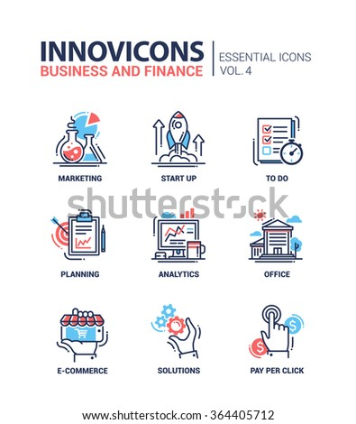 Set of modern vector office thin line flat design icons and pictograms. Collection of business and finance infographics objects and web elements. Marketing, start up, to do list, planning, analytics