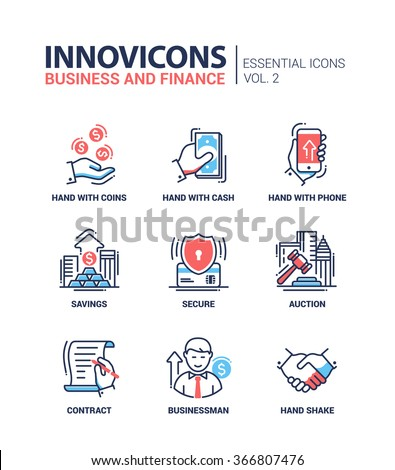 Set of modern vector office thin line flat design icons and pictograms. Collection of business and finance infographics objects and web elements