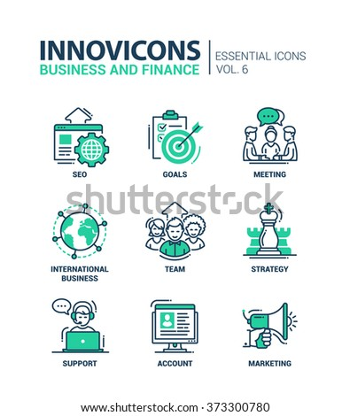Set of modern vector office thin line flat design icons and pictograms. Collection of business and finance infographics objects, web elements. SEO, goals, team, strategy, support, account, marketing