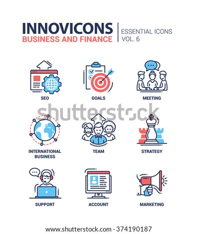 Set of modern vector office thin line flat design icons and pictograms. Collection of business and finance infographics objects, web elements. SEO, goals, meeting, team, strategy, support, marketing