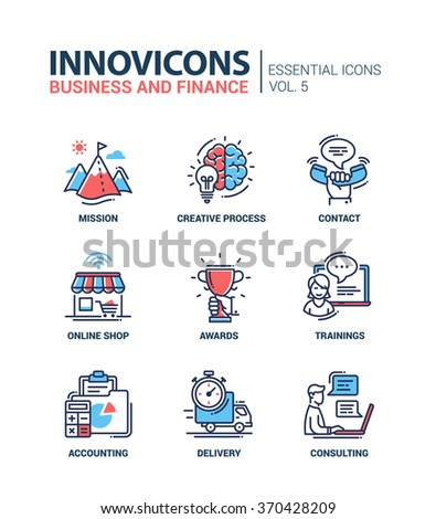 Set of modern vector office thin line flat design icons, pictograms. Collection of business and finance infographics objects. Mission, creative, process, contact, shop, trainings, delivery, consulting