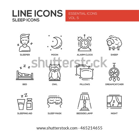 Set of modern vector plain line design icons and pictograms of going to bed and sleeping elements. Sleeper, moon, alarm clock, sheep, owl, dreamcather, mask, bedside lamp, night, aid