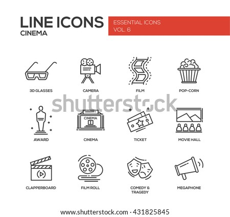 Set of modern vector simple line design icons and pictograms of cinema and movie production, camera, award, cinema ticket, hall, clapperboard, film roll, comedy, tragedy, megaphone