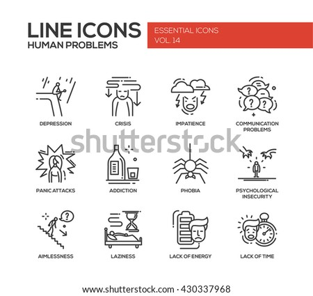 Set of modern vector simple line design icons and pictograms of common human psychological problems. Crisis, impatience, depression, panic, insecurity, phobia, addictions, laziness, energy, time lack