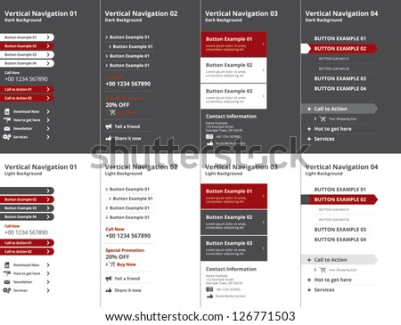 Set of modern vertical website navigation menus with icons on dark and light background