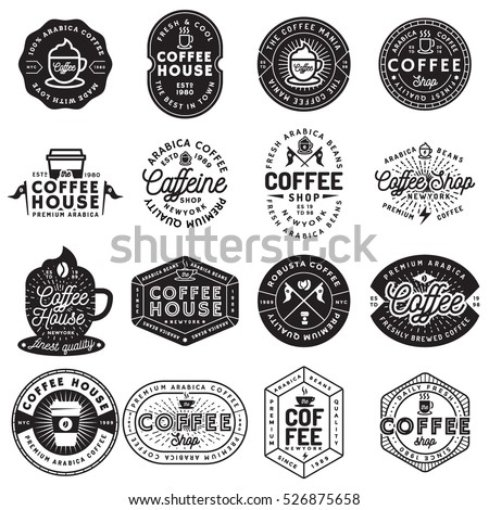 Set of modern vintage coffee shop logos, badges and elements design. Vector illustration.