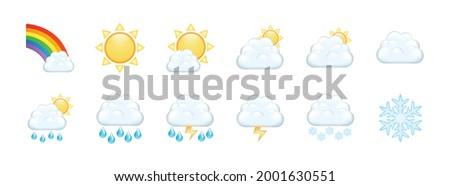 Set of Modern Weather Forecast Icons with rainbow, cloud, sun, rain, snow, lightning, hail.  Weather Forecast Icons isolated on white background.