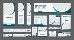 set of modern web banners of standard size with a place for photos and white concept. Business ad banner. Vertical, horizontal and square template.