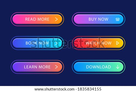 Set of modern web buttons. Gradient buttons for call action. For website and ui design.