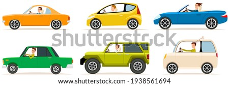 Set of modes of transport and shapes. Cartoon characters in transport isolated on white background