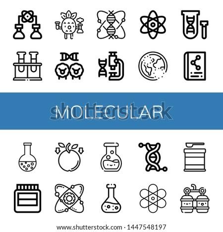 Set of molecular icons such as Bioengineering, Chemical, Scientific, Cloning, Genomics, Laboratory, Atomic, Ozone, Genetical, Chemistry, Hormones, Gravity, Atom, Genetics , molecular