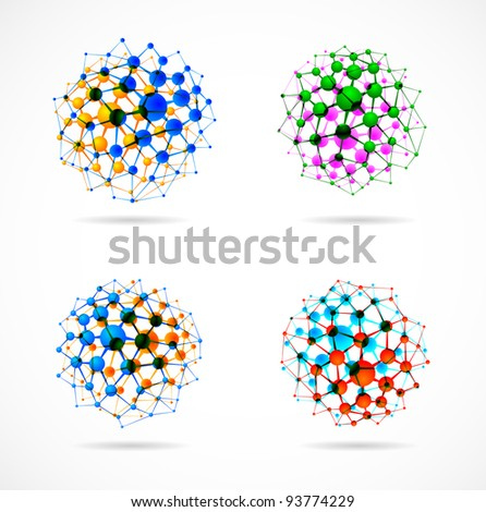 Set of molecular structures in the form of spheres. Eps 10