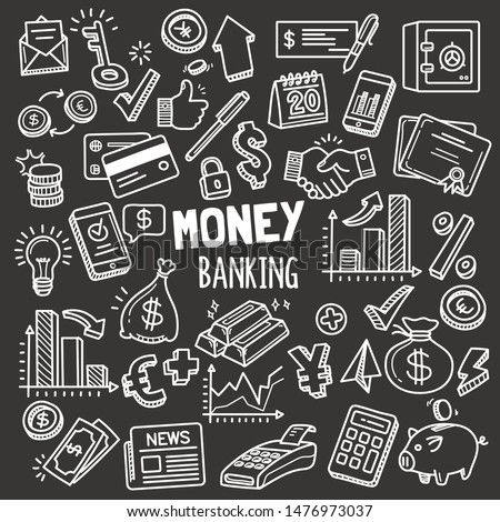 Set of money and banking related objects and elements. Hand drawn vector doodle illustration collection in Blackboard chalk style.
