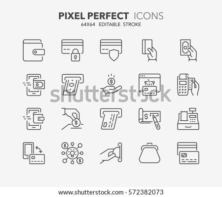 Set of money and payment methods thin line icons. Contains icons as pay online, bank check, mobile wallet, mobile payment, credit card and more. Editable stroke. 64x64 Pixel Perfect.