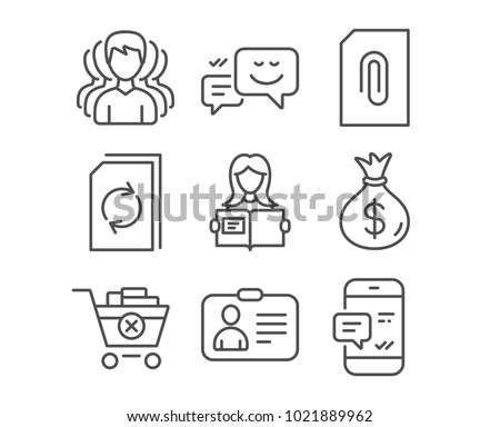 Set of Money bag, Woman read and Happy emotion icons. Attachment, Remove purchase and Update document signs. Group, Id card and Smartphone notification symbols. Usd currency, Girl studying, Web chat