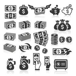 Set of money icons. Vector illustration