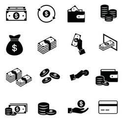 Set of Money Related Vector Icons. Contains such Icons as Wallet, ATM, Bundle of Money, Hand with a Coin and more. Editable Stroke.