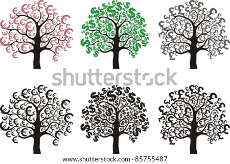 set of money trees  design elements isolated on White background. Vector illustration