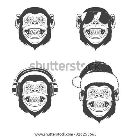 set of monkey heads monochrome
