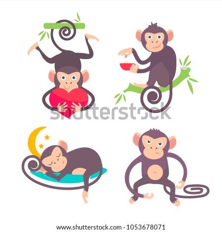 Set of monkey vector