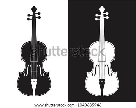 Set of monochrome abstraction of two violins on black and white background, classical musical instrument, vector illustration