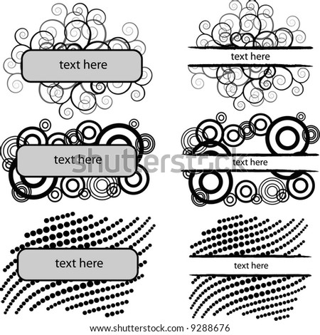 set of 6 monochrome banners,vector sketch just add your own text