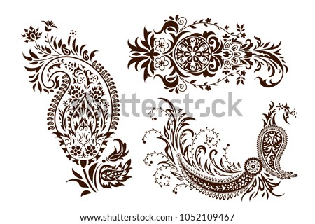 stock-vector-set-of-monochrome-butas-paisley-motives-and-stylized-peacock