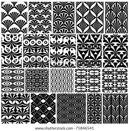 Set of monochrome classic geometric seamless patterns. Traditional vector backgrounds collection.