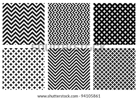 Set of 6 monochrome elegant seamless patterns