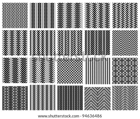 Set of 20 monochrome elegant seamless patterns