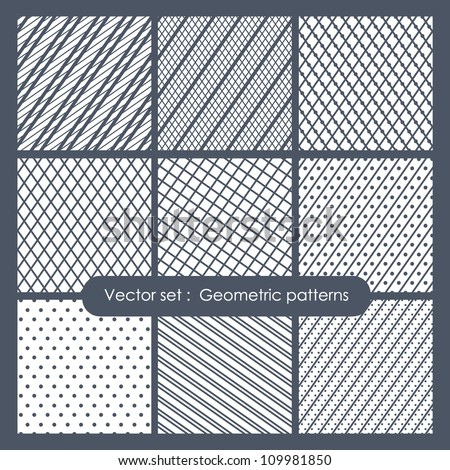 Set of monochrome geometric patterns Seamless textures
