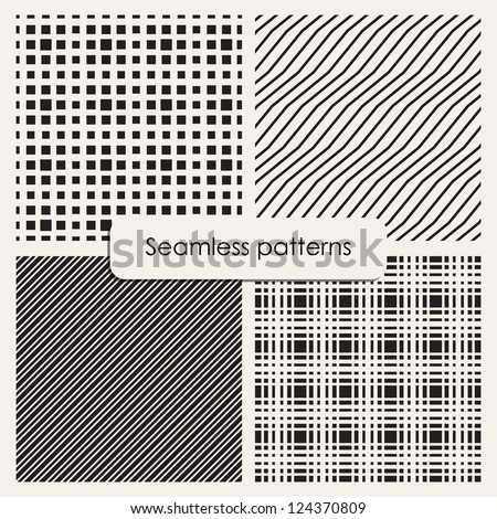 Set of monochrome geometric patterns. Seamless textures