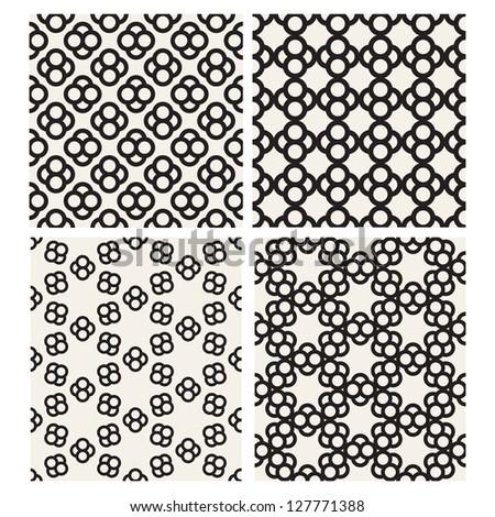 Set of monochrome geometric patterns. Seamless textures