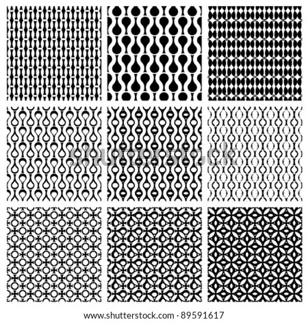 Set of monochrome geometric seamless patterns, vector backgrounds collection.