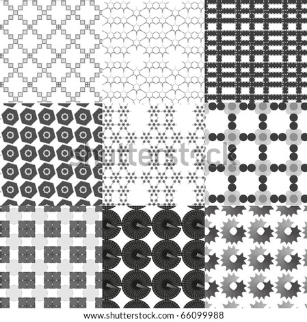 Set of monochrome geometrical patterns. Vector .
