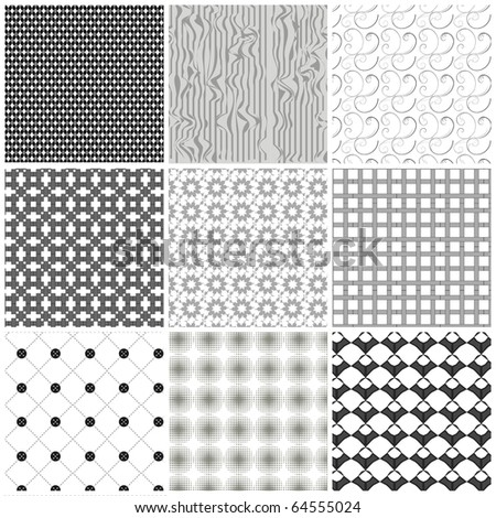 Set of monochrome geometrical patterns. Vector, EPS 8