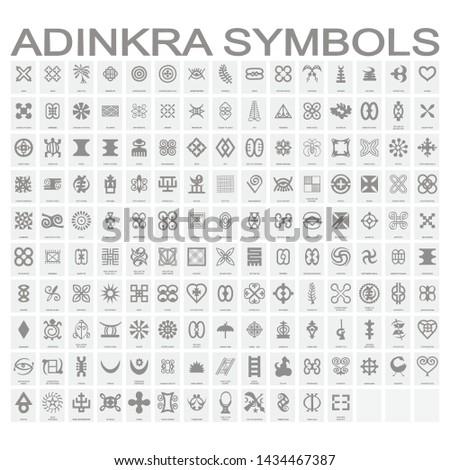 set of monochrome icons with adinkra symbols