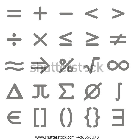 Set of monochrome icons with mathematical symbols for your design