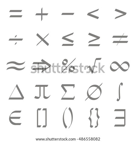 Set of monochrome icons with mathematical symbols for your design #486558082
