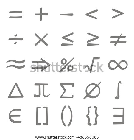 Set of monochrome icons with mathematical symbols for your design #486558085