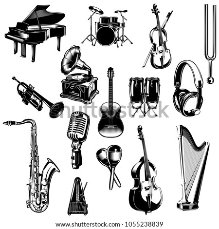 set of monochrome images musical instruments. pianos, drums, double bass, cello, violin, trumpet, gramophone, guitar, maracas, headphones, harp, metronome, metronome