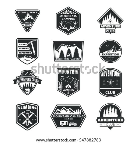 Set of monochrome logos Adventure club,mountain camping, club climbing, Storm Peaces.