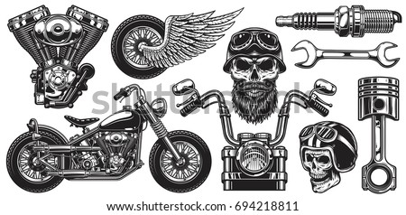 set of monochrome motorcycle...
