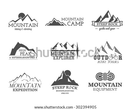 Set of monochrome outdoor adventure explorer camp badge, logo and label templates. Travel, hiking, climbing style. Best for adventure sites, travel magazine etc. Isolated on white background. Vector.