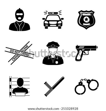 set of monochrome police icons