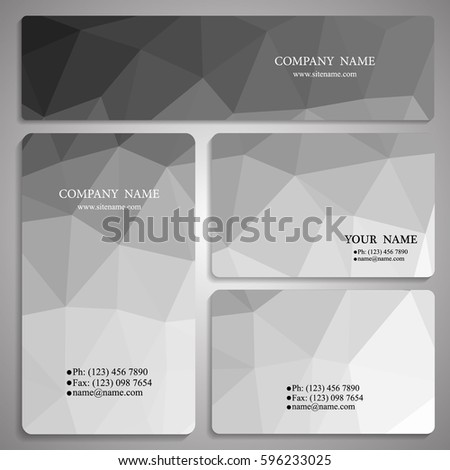 set of monochrome polygon business card and banner templates vector illustration